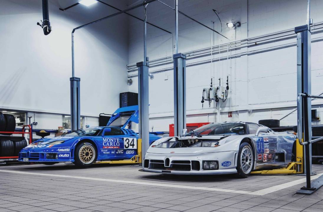 H. R. Owen Bugatti welcomes two racing legends to its workshop